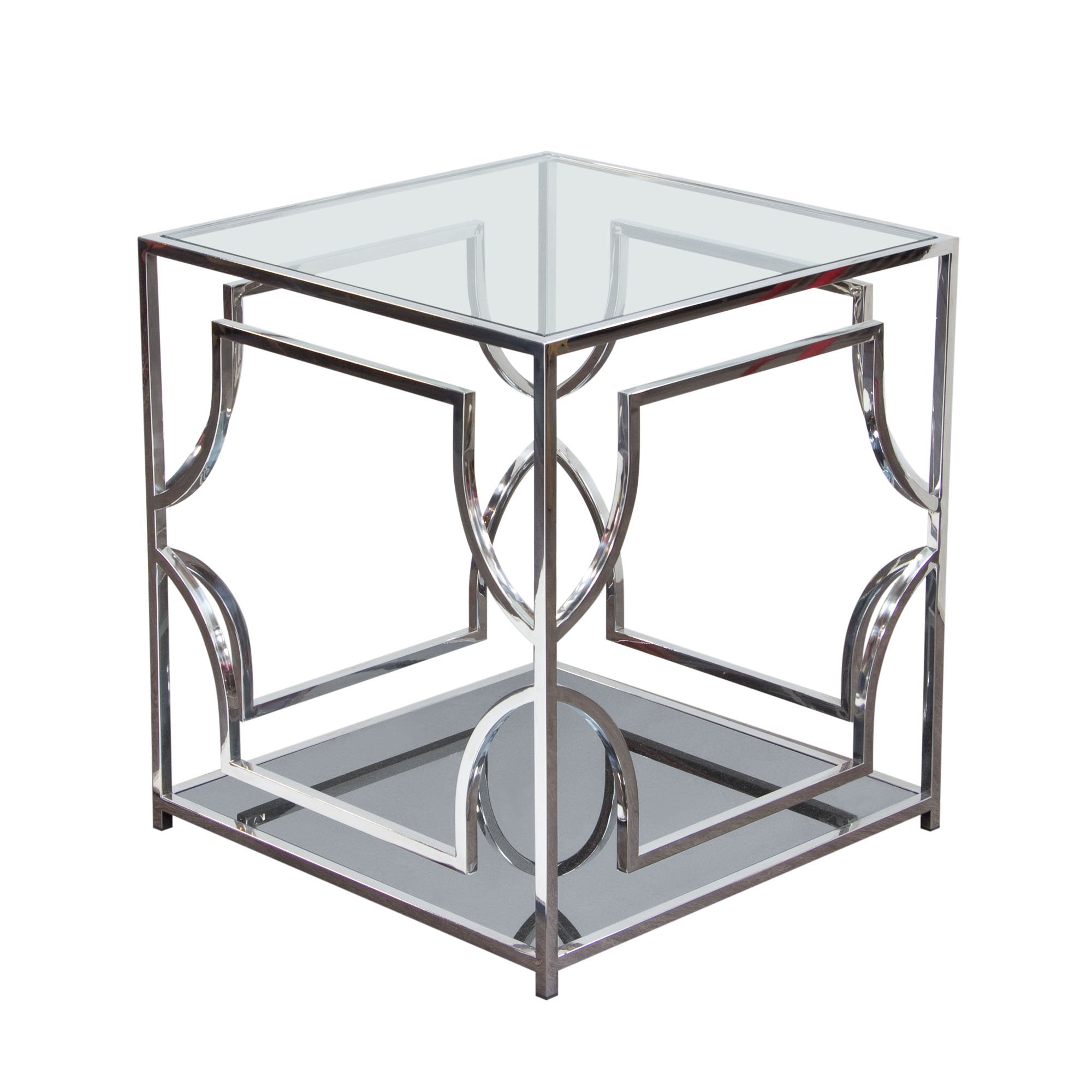 Avalon End Table with Clear Glass Top