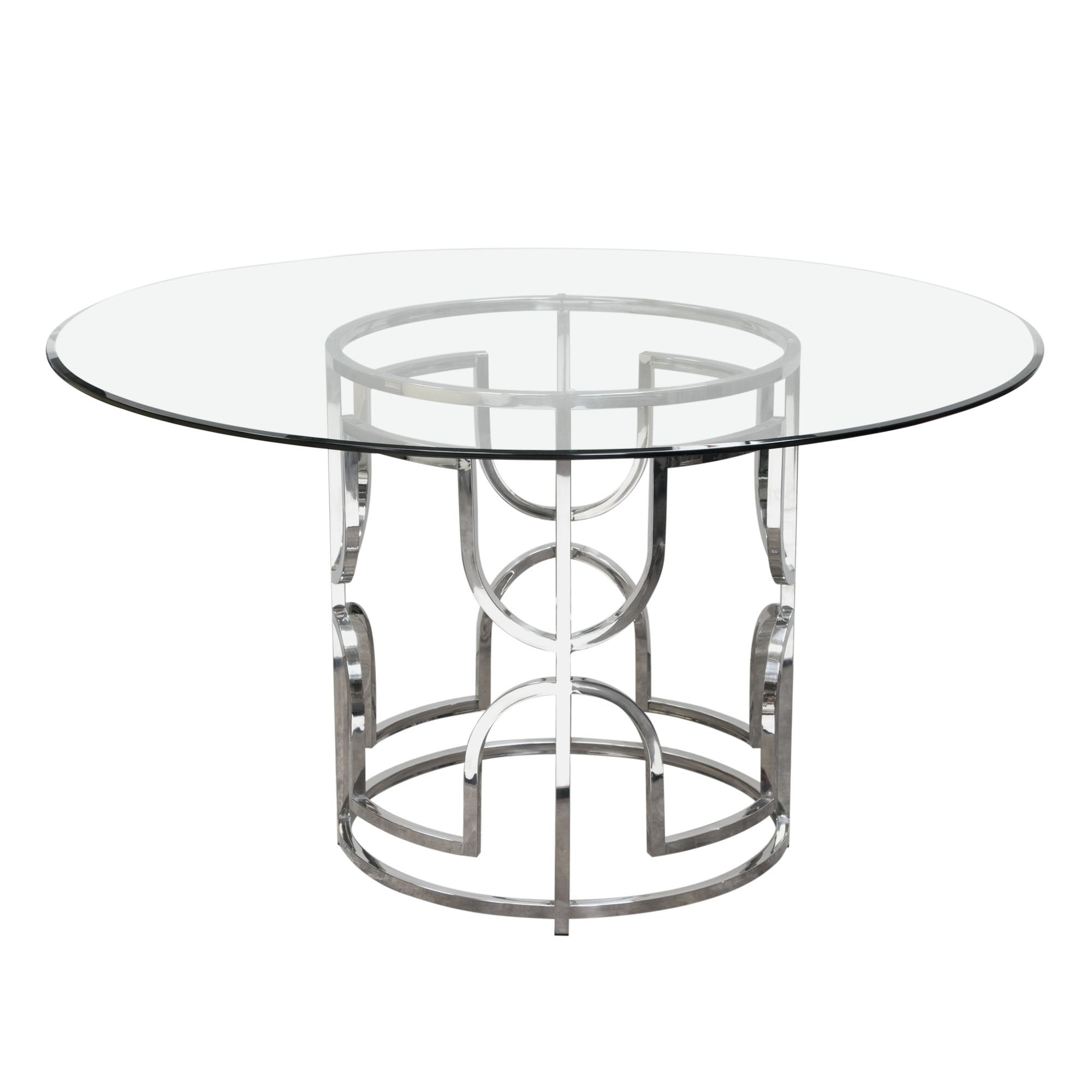 "Avalon 54"" Round Glass Top Dining Table"