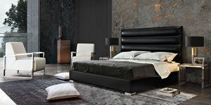 Bardot Queen Bed in Black Leatherette