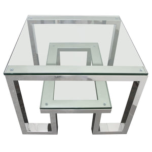 Carlsbad End Table with Clear Glass Top