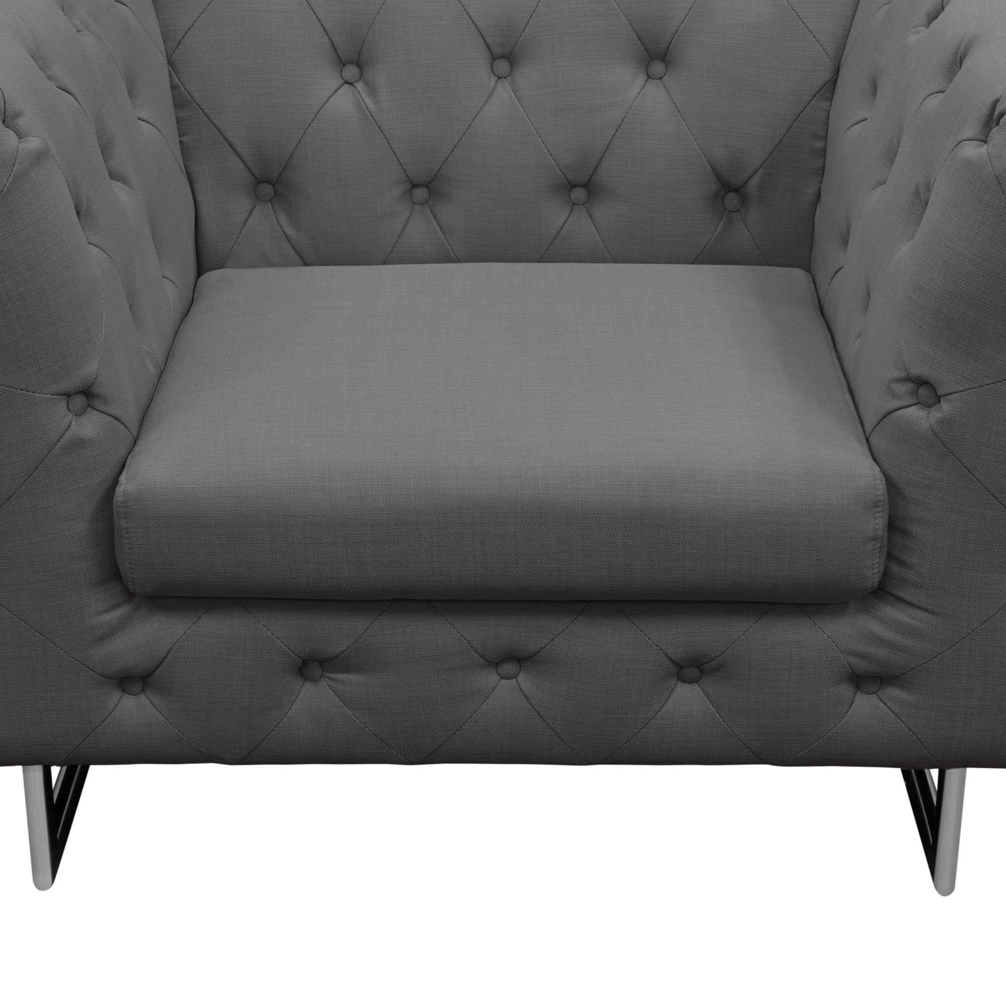 Catalina Tufted Chair-Grey