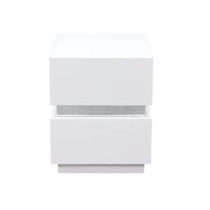 Elle 2-Drawer Nightstand in High Gloss White
