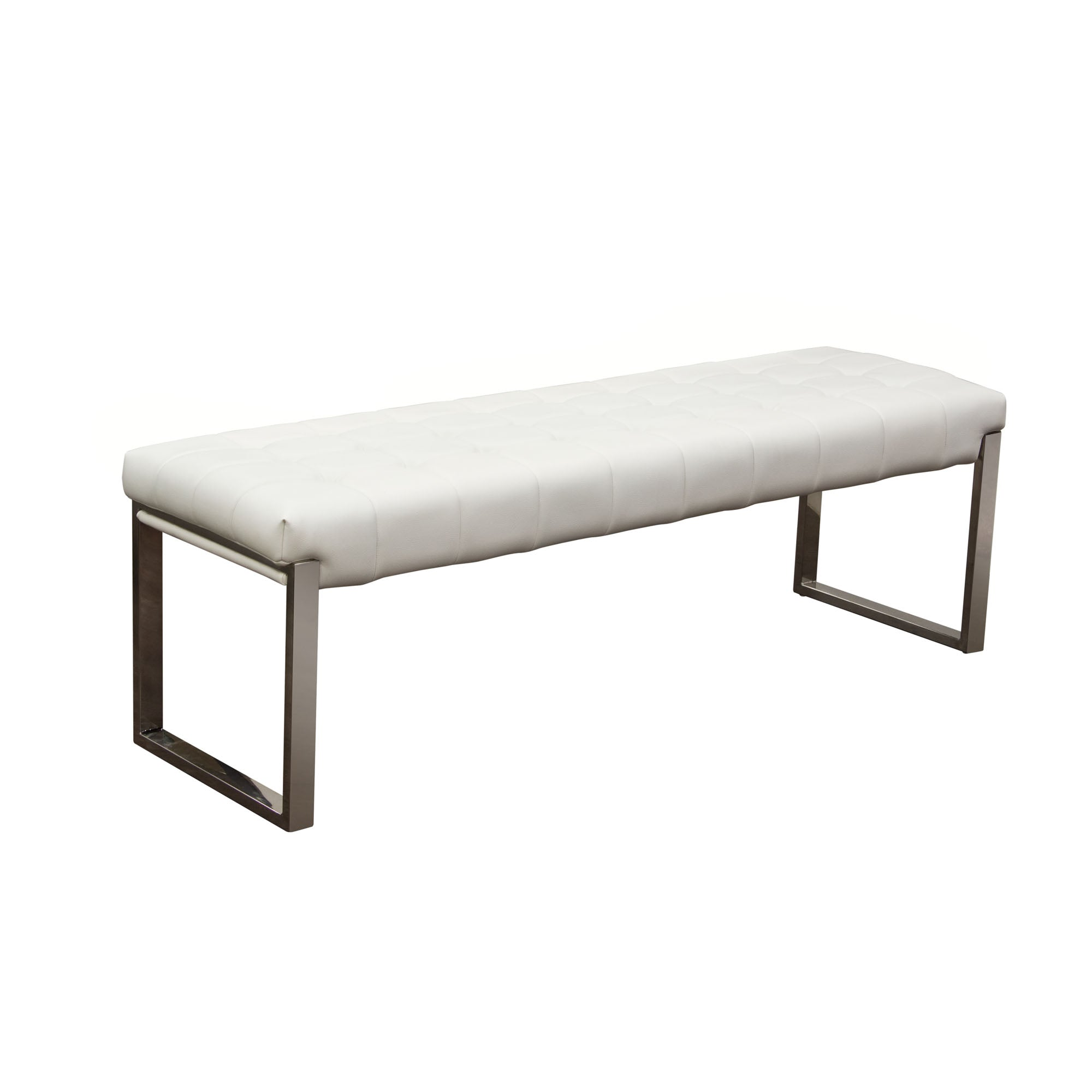 Knox Backless, Tufted Bench - White