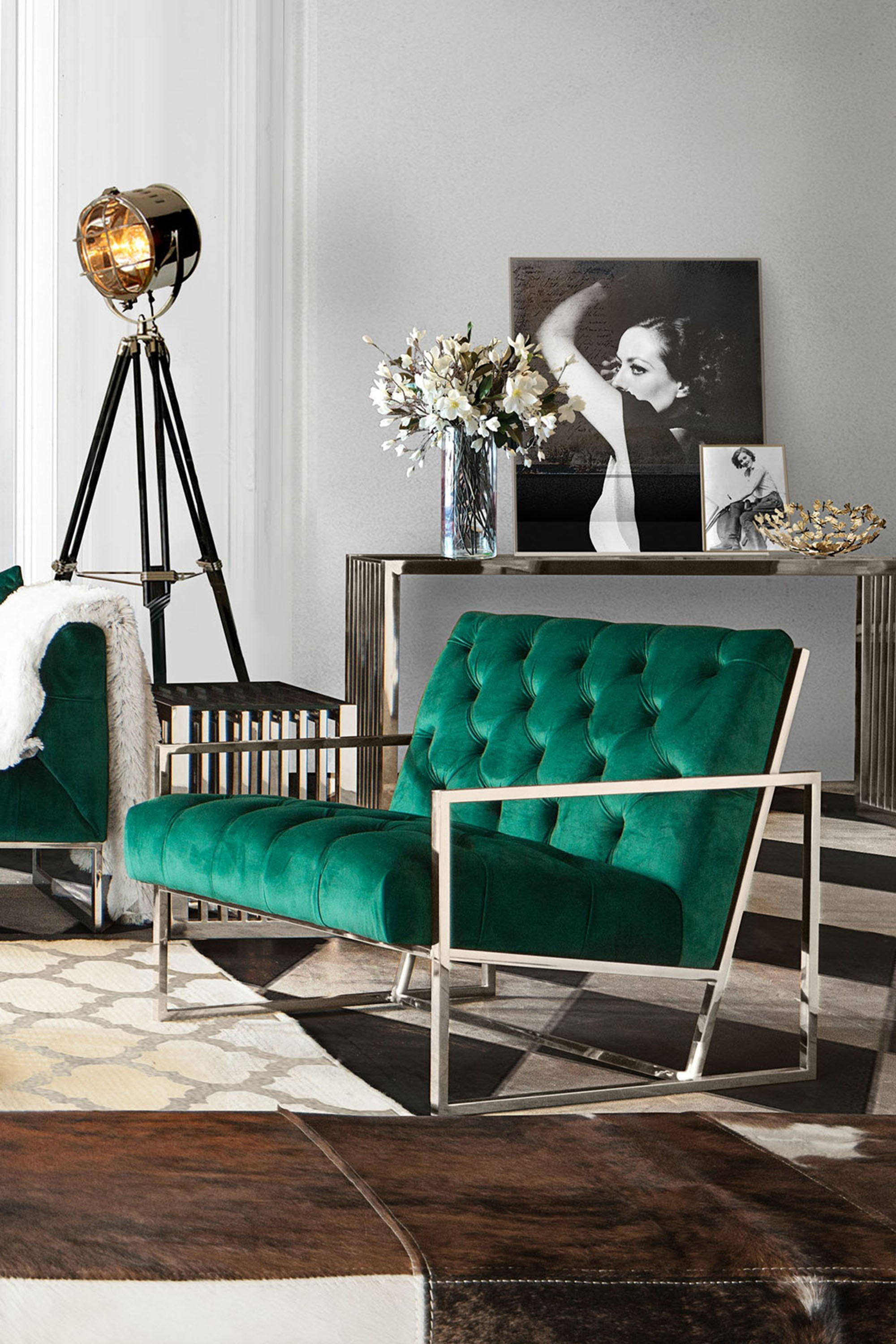 Luxe Accent Chair in Emerald Green
