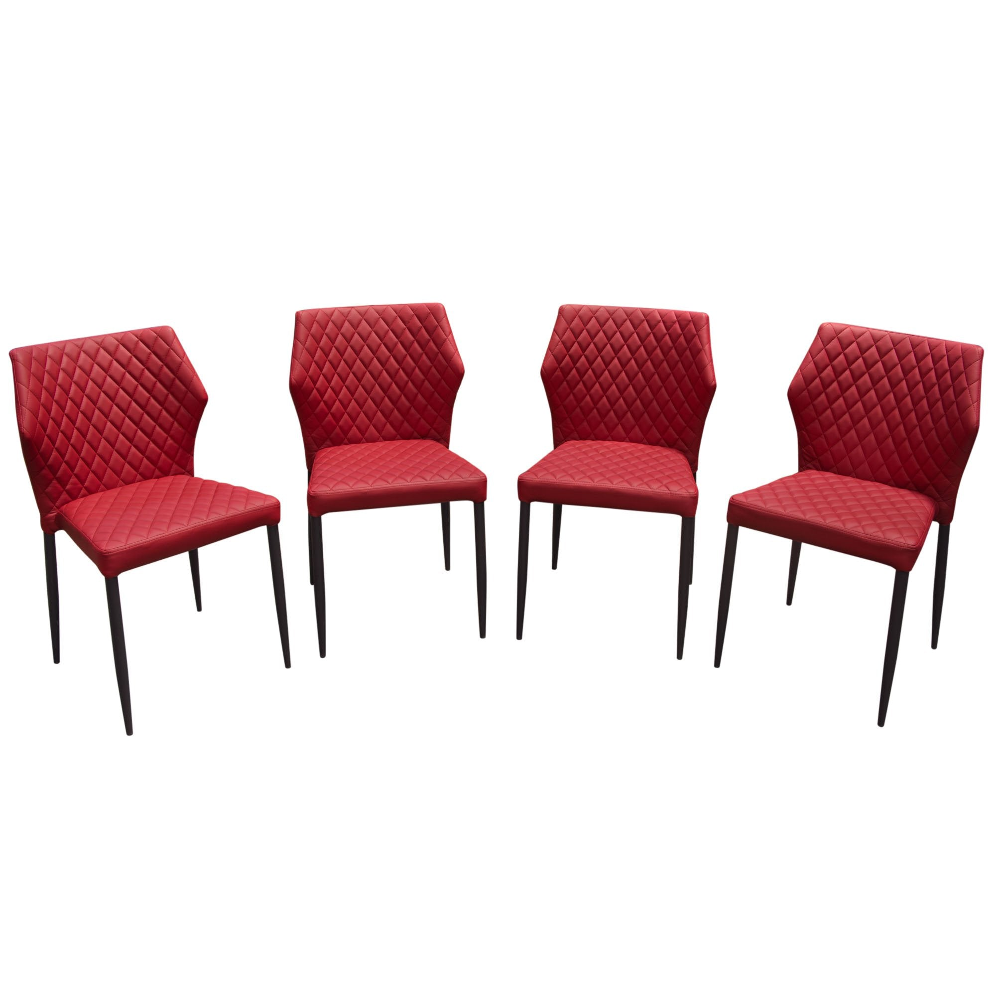 Milo 4-Pack Dining Chairs in Red Diamond Leatherette
