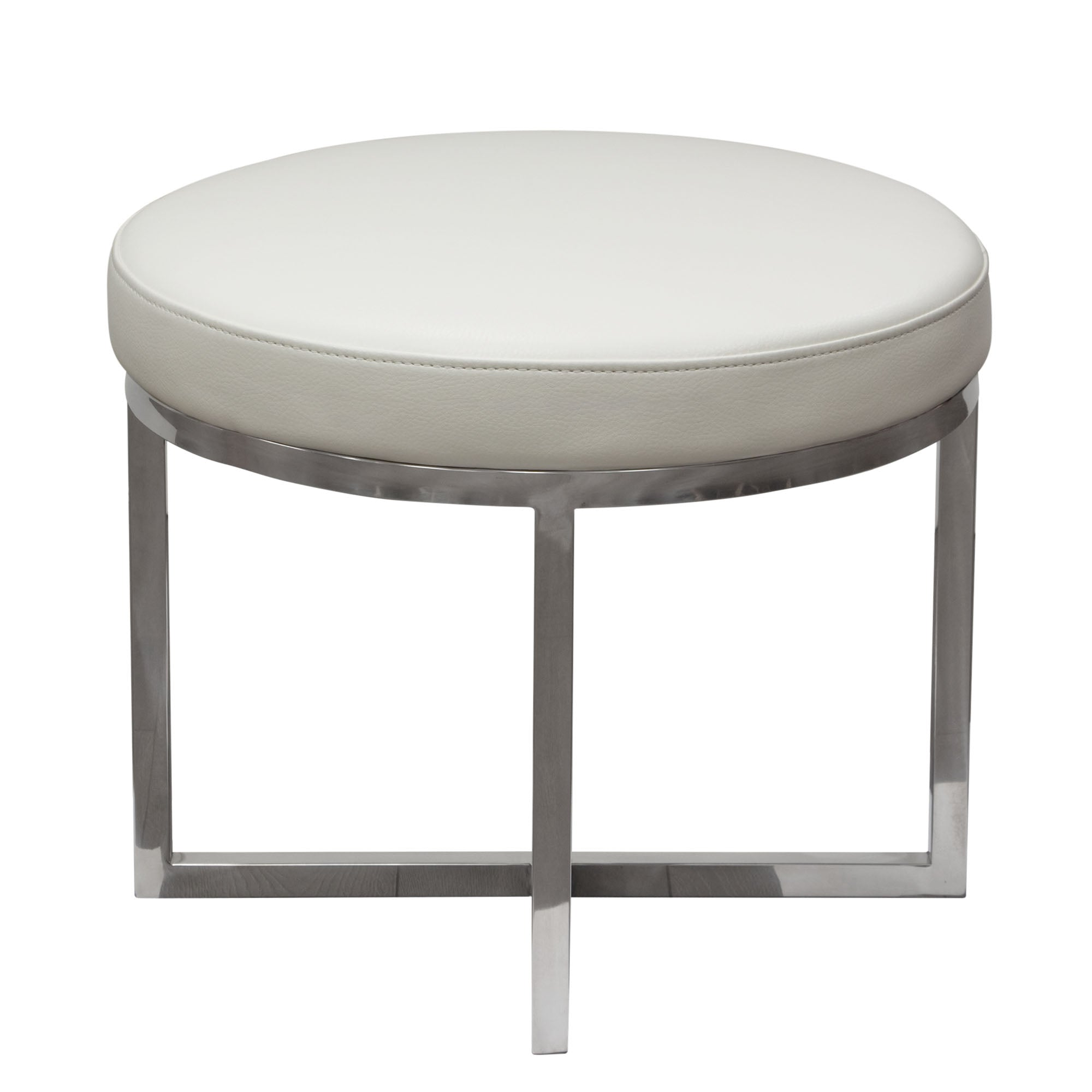 Ritz Round Accent Stool - White