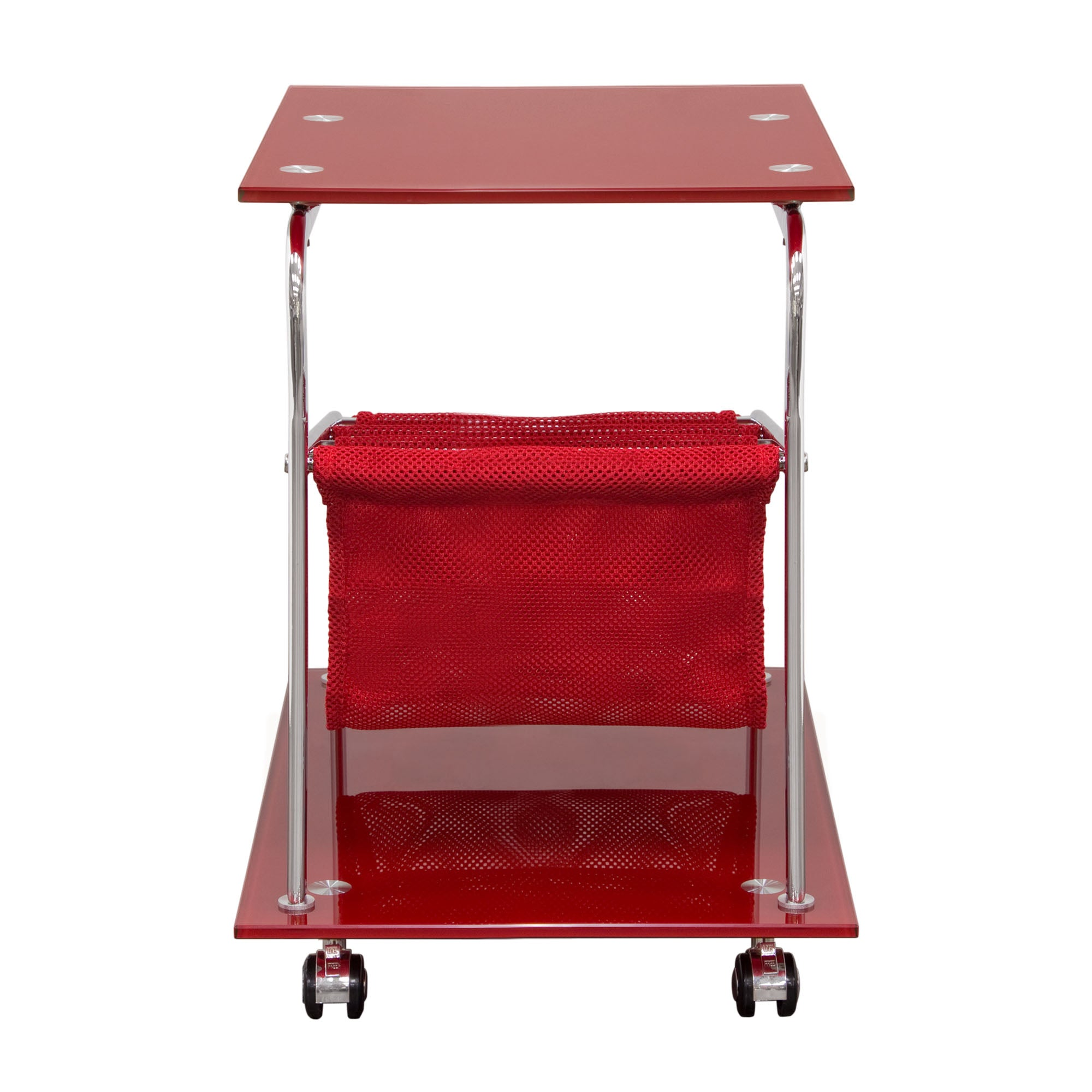 Rocket Castered Accent Table with Red Glass