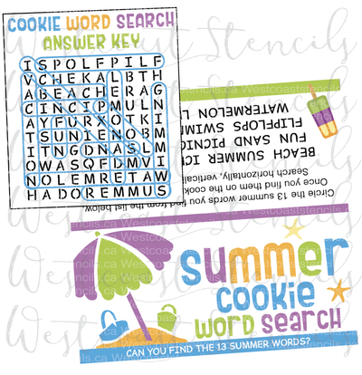 DIGITAL Summer Word Search Bag Topper, Style 1