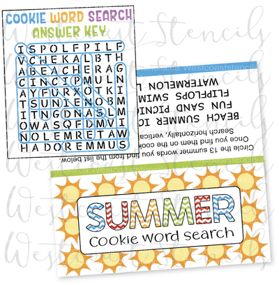 DIGITAL Summer Word Search Bag Topper, Style 2
