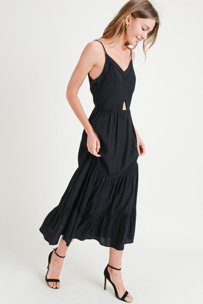 Cut Out Front Midi Trimmed Dress
