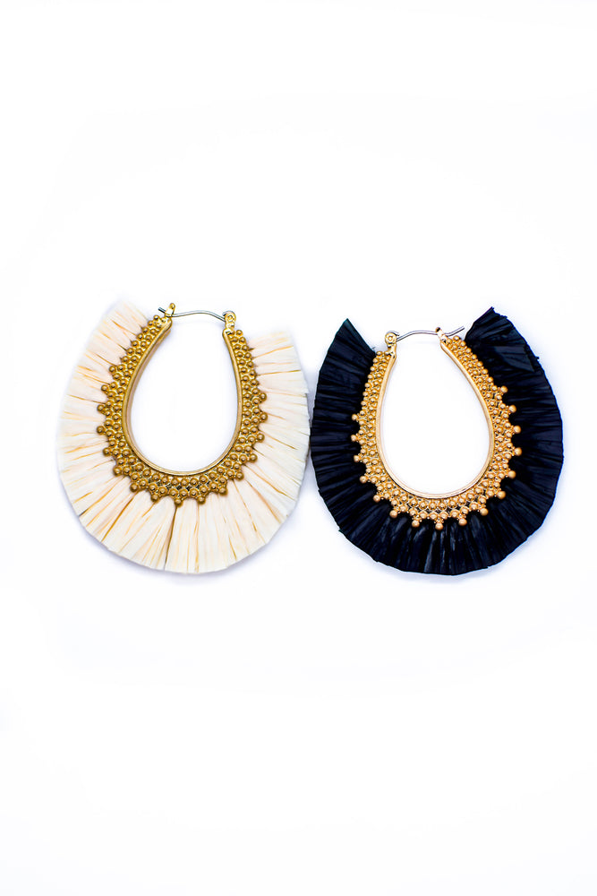 Fringe Raffia Fan Earrings