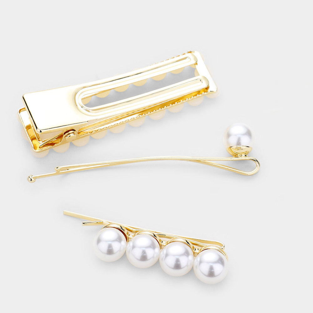 Going Out 3pc Pearl Hair Clip