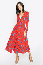 Crimson Rose Floral Midi Dress
