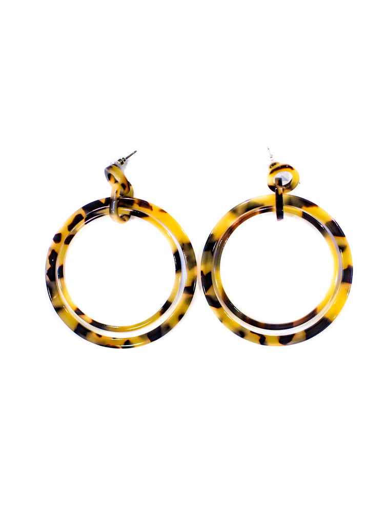 Leopard Double Hoop Earrings