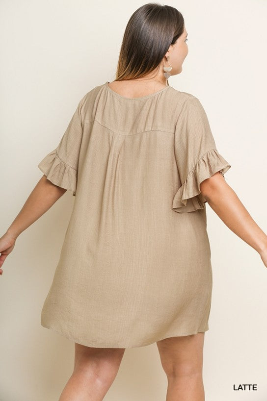 Let's Go For a Latte Bottom Up Dress- Plus Size