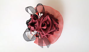 Burgundy and Black Corsage for Prom, Bridal, Evening Outfit