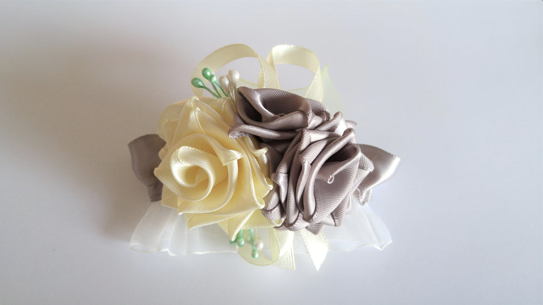 Ivory and Gray Corsage for Prom, Bridal, Evening Outfit