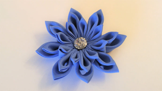 Cornflower Blue Kanzashi Hair Clip or Lapel Pin