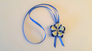 Blue and Ivory Flower Necklace with Swarovski Crystal