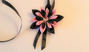 Black and Pink Flower Necklace with Swarovski Crystal