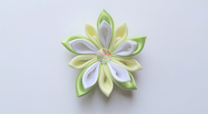 Mint Green, White, and Ivory Kanzashi Flower Hair Clip or Pin
