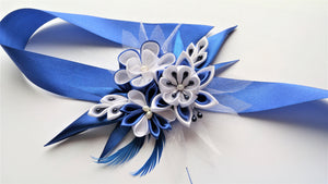 Royal Blue and White Wrist Corsage for Prom, Bridal, Evening Outfit - Kanzashi Flowers Corsage