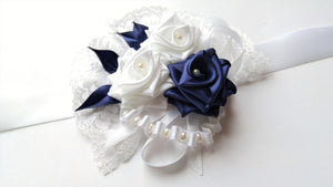 Navy Blue and White Wrist Corsage for Prom, Bridal, Evening Outfit
