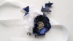 Navy Blue and White Wrist Corsage with Rhinestones for Prom, Bridal, Evening Outfit