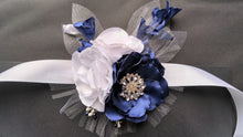 Load image into Gallery viewer, Navy Blue and White Wrist Corsage with Rhinestones for Prom, Bridal, Evening Outfit