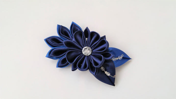 Dark Blue Flower - Kanzashi Hair Clip or Brooch