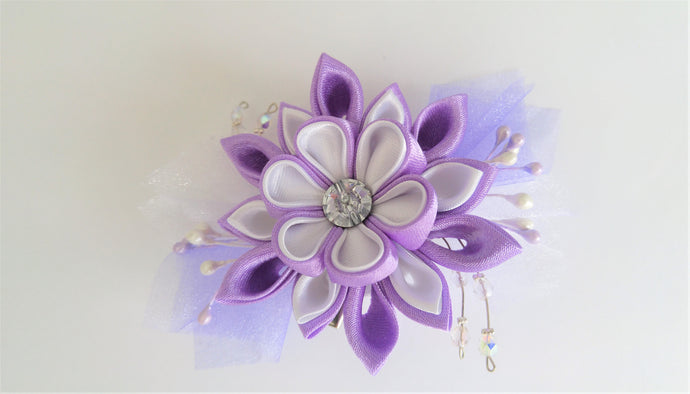 Lilac and White Flower with Swarovski Crystal - Kanzashi Hair Clip or Brooch