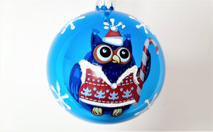 Christmas Ornament - Owl with Candy Cane