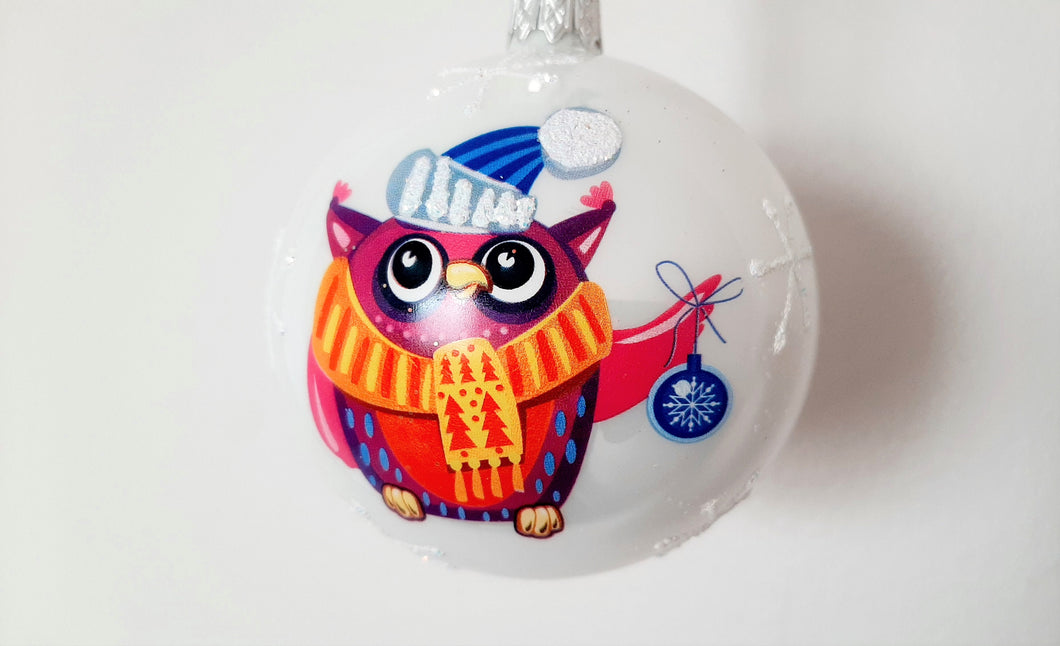 Christmas Ornament - Owl with Christmas Ornament