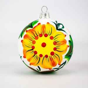 Christmas Ornament - Flowers on White