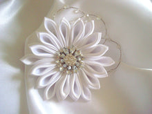Load image into Gallery viewer, White Kanzashi Hair Clip with Glass Crystals
