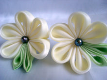 Load image into Gallery viewer, Bridal Ivory Flowers, Set of Two - Tsumami Kanzashi Bobby Pins