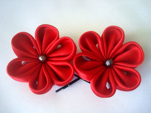 Red Flowers Bobby Pins with Freshwater Pearls - Set of Two