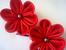 Load image into Gallery viewer, Red Flowers Bobby Pins with Freshwater Pearls - Set of Two