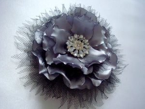 Gray Satin Flower Hair Clip with Metal Button and Rhinestones - Grey Bridal Flower Clip