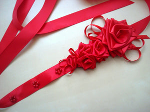 Large Red Roses Satin Sash Belt - Bridal Dress Ivory Sash - Wedding Dress Sash with Roses