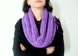 Hand Knitted Lilac Winter Cowl
