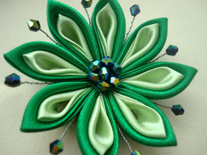 Green Kanzashi Flower Hair Clip or Pin