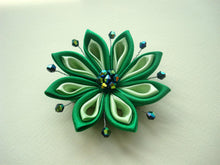 Load image into Gallery viewer, Green Kanzashi Flower Hair Clip or Pin
