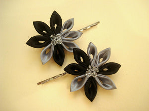 Black and Gray Flowers Bobby Pins - Set of Two Kanzashi Bobby Pins