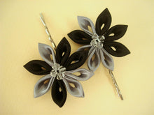 Load image into Gallery viewer, Black and Gray Flowers Bobby Pins - Set of Two Kanzashi Bobby Pins