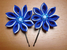 Load image into Gallery viewer, Blue Flowers Bobby Pins - Set of Two Kanzashi Bobby Pins