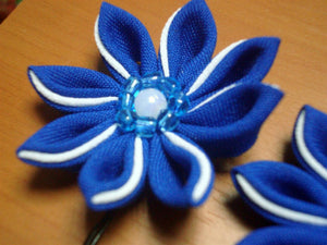 Blue Flowers Bobby Pins - Set of Two Kanzashi Bobby Pins