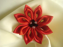 Load image into Gallery viewer, Red Kanzashi Flower Hair Clip