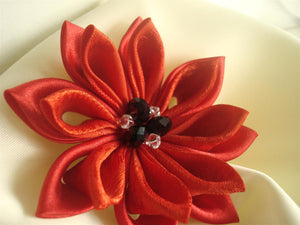 Red Kanzashi Flower Hair Clip