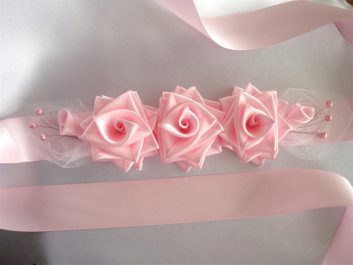 Pink Roses and Pearls Sash Belt - Bridal Dress Sash - Wedding Dress Sash